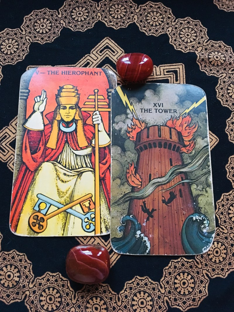 The Hierophant and The Tower, spiritual awakening