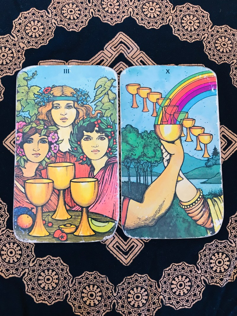 Love is our medicine. Ten of cups and Three of cups, Tarot cards.