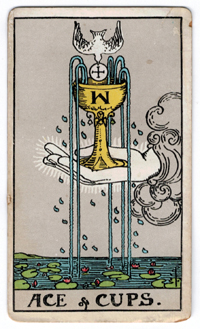 Vintage Rider Waite Tarot - Ace of Cups