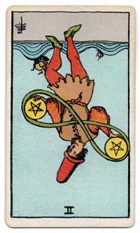 Vintage Rider Waite Tarot - 2 of Pentacles