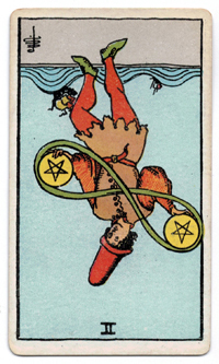 Vintage Rider Waite Tarot - 2 of Pentacles