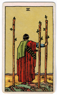 Vintage Rider Waite Tarot - 3 of Wands