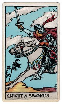Vintage Rider Waite Tarot Knigh of Swords