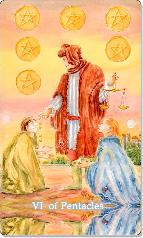 Image of The Six of Pentacles card