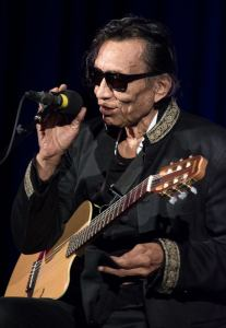 Image of Rodriquez on stage with his guitar.