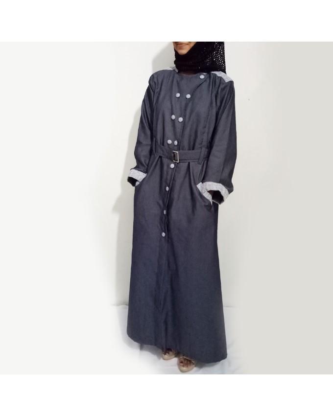 Grey Front Buttoned Checkered Velvet Strips Denim Abaya Online Shopping In Pakistan
