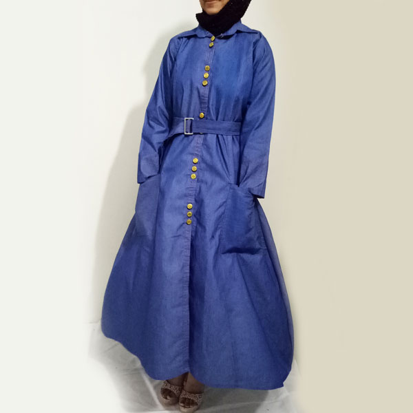 Denim-Abaya-Front-Metal-Buttoned-Shirt-Collar-Free-Style-Turkish-Coat