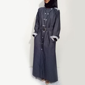 Denim-Abaya-2018-Grey-Front-Buttoned-Checkered-Velvet-Strips