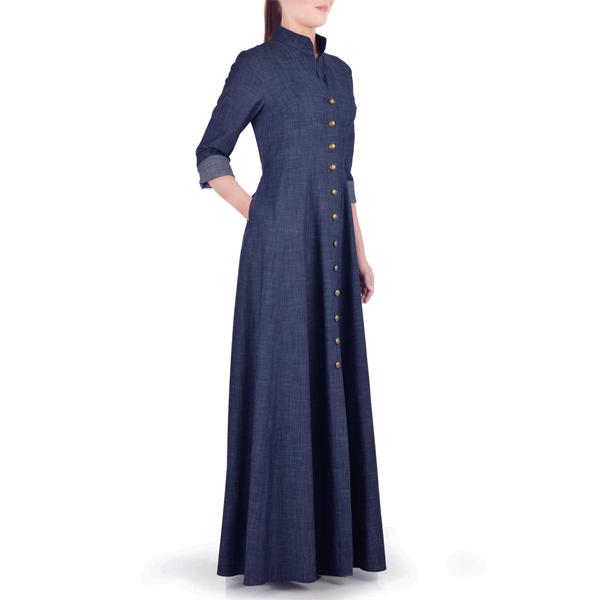 Navy-Blue-Summer-Wear-Maxi-Style-Denim-Abaya-Coat-Online-In-Pakistan