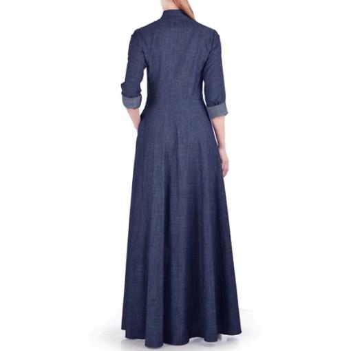 Navy-Blue-Summer-Wear-Maxi-Style-Denim-Abaya-Coat-Online-Latest-Design