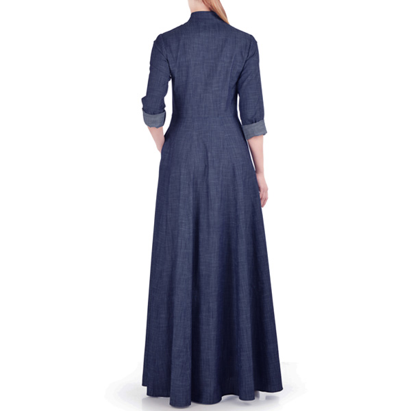 Navy-Blue-Summer-Wear-Maxi-Style-Denim-Abaya-Coat-Online-Latest-Design