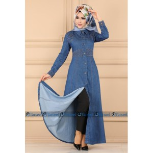 Buy Thread Design Denim Abaya Online In Pakistan
