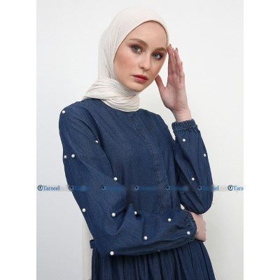 Denim Abaya With Pearls On Sleeves