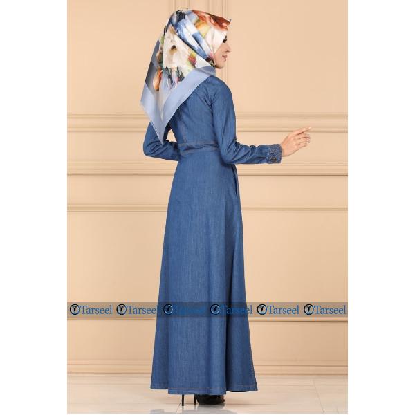 Front Open Denim Jeans Abaya Designer Abaya Jilbab For Her