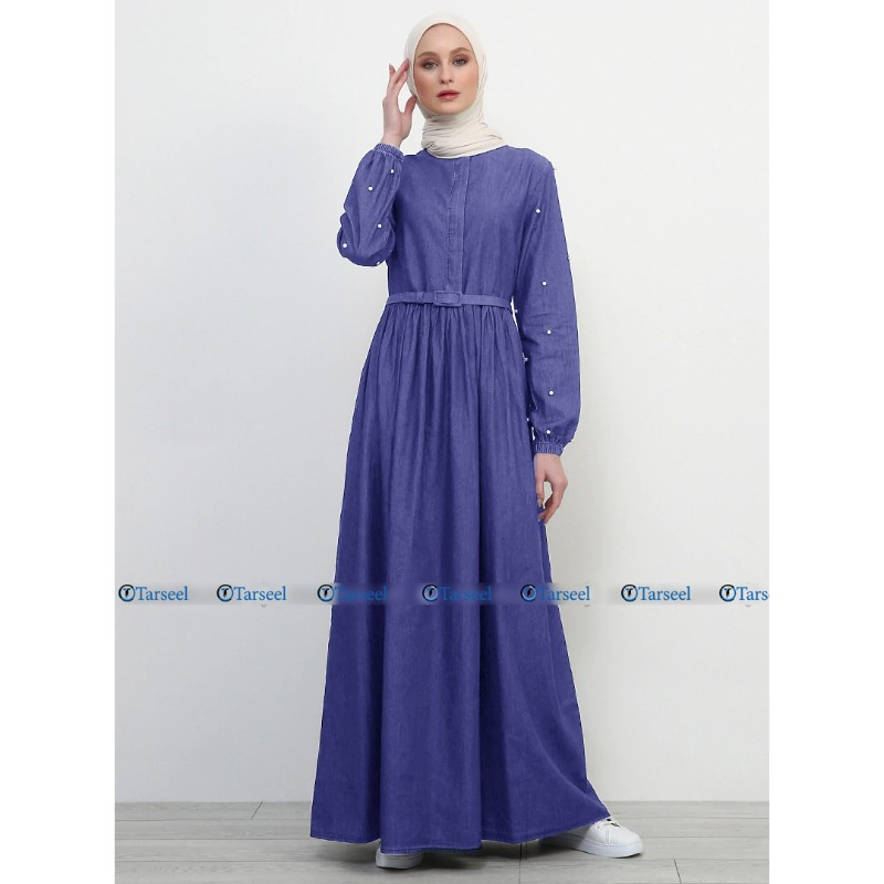 Light Blue Denim Abaya With Pearls On Sleeves