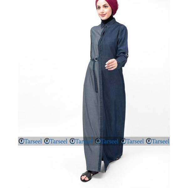 Reversible Denim Abaya With Side Belt