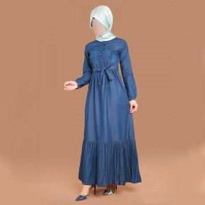 Special Flares Designer Denim Abaya With Waist Belt For Women