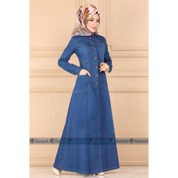 Stylish Designer Panel Design Denim Abaya Jeans Jilbab Abaya For Her Denim Abaya With Zip Pockets Front Upper Buttoned Jeans Abaya