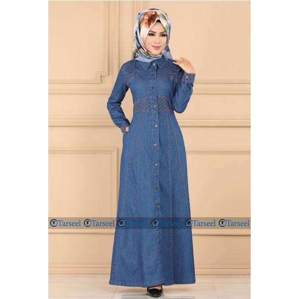 Thread Design Abaya Four Season Front Open Denim Jeans Abaya
