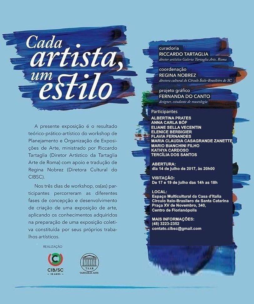 CONVITE Em caráter laboratorial, nesta sexta-feira (14/07) acontecerá a abertura da exposição coletiva de arte pelos participantes do curso de CURADORIA E ORGANIZAÇÃO DE EXPOSIÇÕES DE ARTE, desenvolvida pelo marchand RICCARDO TARTAGLIA e com apoio do CIB. Vem prestigiar! ❤ #curadoria #arte #exposição #aulas #italiano #RiccardoTartaglia #CIBSC #Brasil #Italia