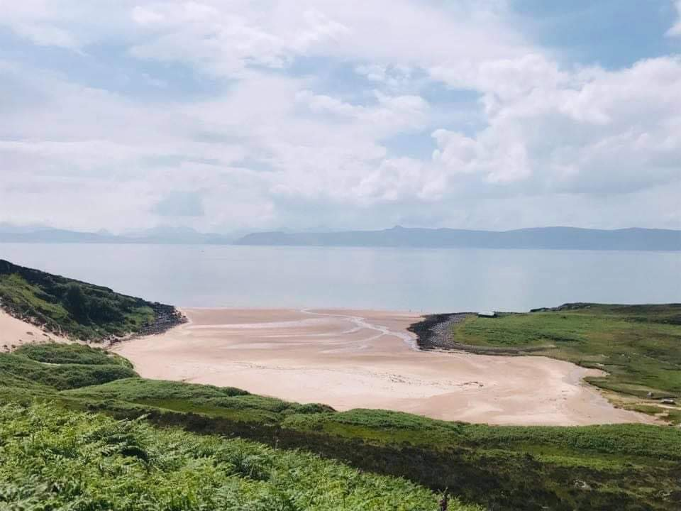 Applecross sandy beach and ocean