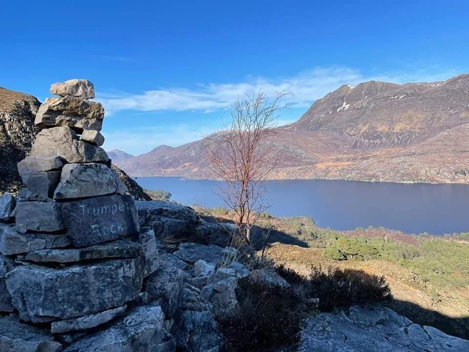 Waymarker on Beinn Eighe with Loch Maree