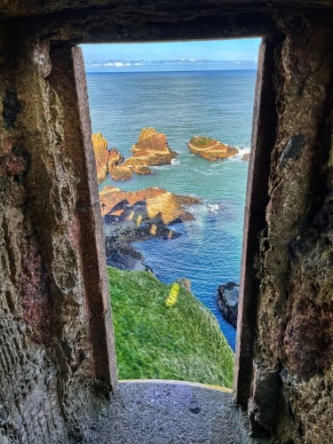 The view looking out of the tower on Slains castle