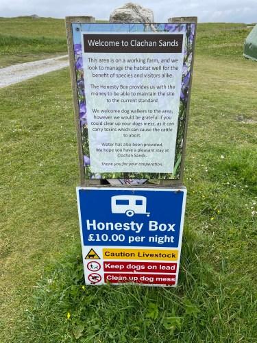 Clachan sands honesty box sign