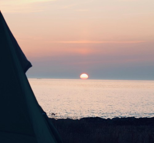 Sunset from our camping Croft at Tiree