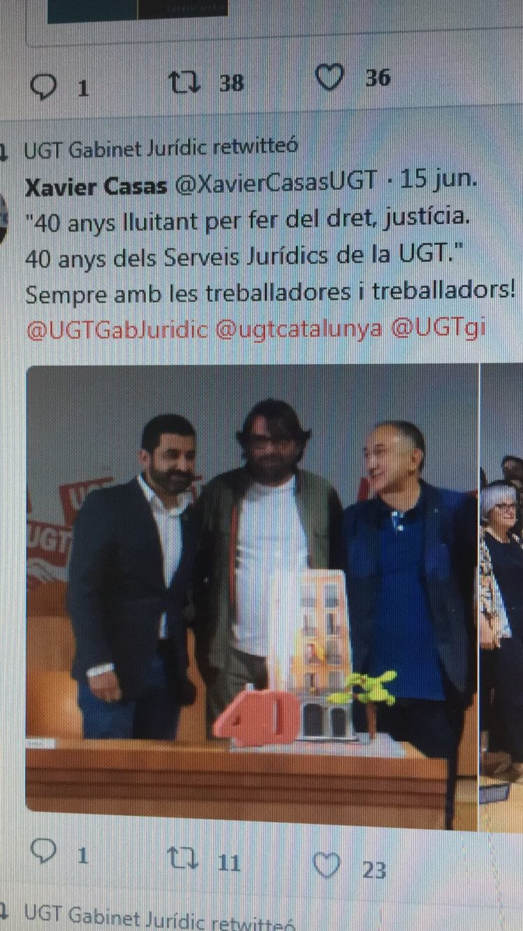 Tarta 40a aniversario UGT Barcelona