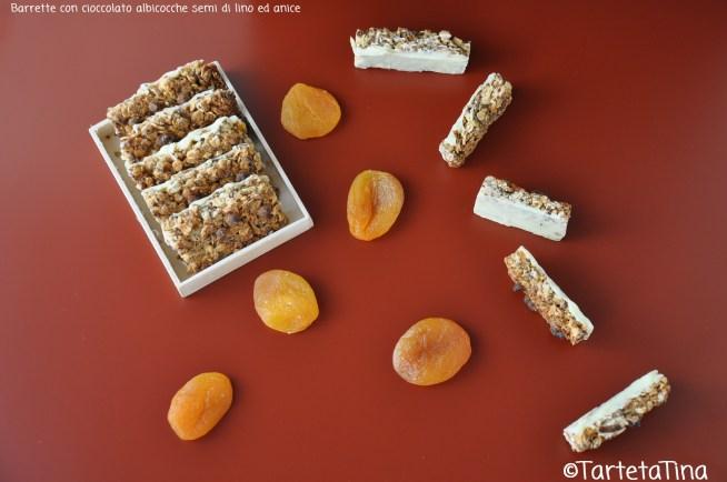 Barrette con cioccolato albicocche semi di lino ed anice