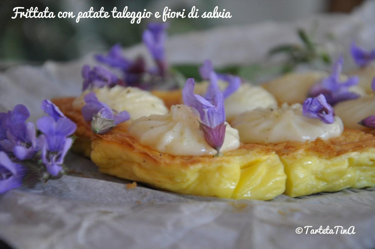 Frittata con patate taleggio e fiori di salvia