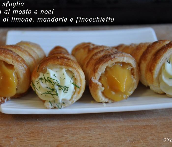 Cannoli di sfoglia con crema al mosto e noci e ganache al limone, mandorle e finocchietto