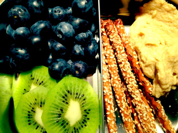 Hummus, Whole Wheat Pretzel Sticks, Kiwi, Blueberries