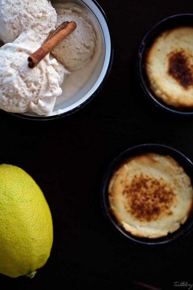 Helado de almendra, canela y limon