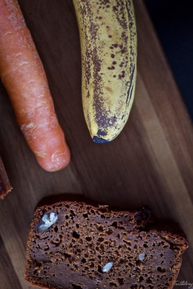 Bizcocho húmedo de zanahoria y plátano