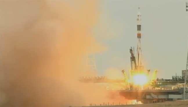 إطلاق مركبة الفضاء الروسية سيوز إم إس -02 من مطار بايكونور إلى المحطة الدولية