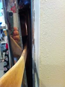 A wooden spatula in the oven door for venting.