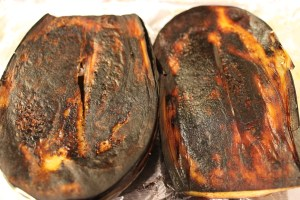 The baked eggplant.  You want the char.  It adds a smky flavor to the final dish.  However, be sure not to let the eggplant burn.