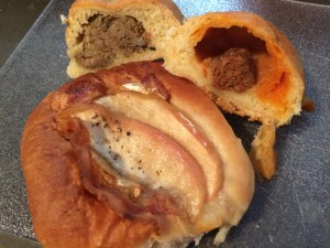 Breakfast from Zubik House: Apple, Bacon & Brie; Chorizo & Oaxaca Cheese; Boudin