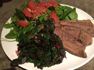 Dinner: Smoked Pepper Mix & Lemon Thyme Pot Roast; Arugula, Spinach & Graprfruit salad, Sauteed Chard