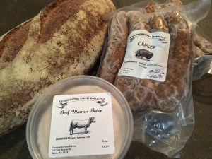 My haul: Chorizo, Beef Marrow Butter, Nine-Grain Bread