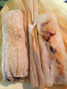 Breakfast: Chicken Mole and Pork al Pastor tamales