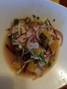 Ceviche. This was excellent and arguably the best part of dinner.
