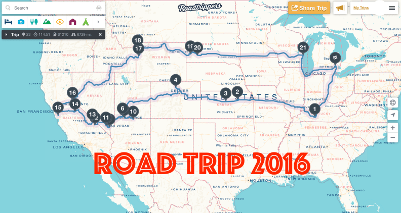 Road Trip 2016 via roadtrippers.com