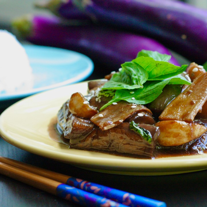 Three Cup Eggplant with Ginger Garlic and basil