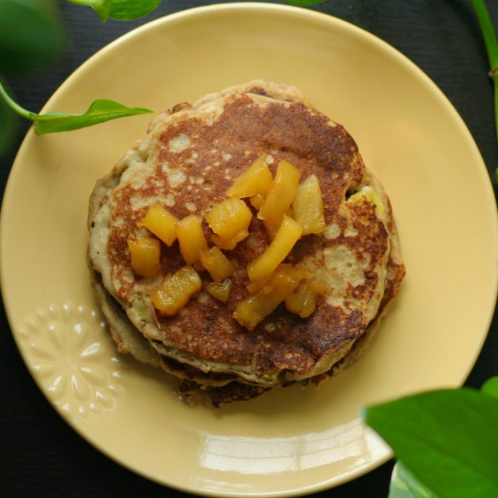 Banana Oatmeal Pancakes with Pineapple