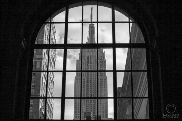 looking through the window of the New York Public Library
