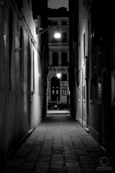 alley with lamps in Venice