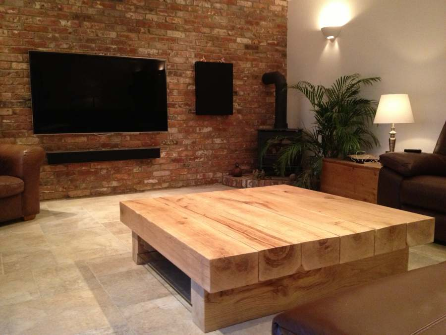 Large Square Oak Coffee Table